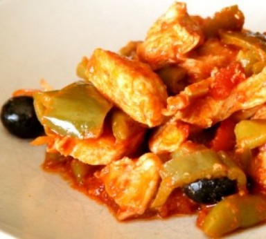 Chicken stew with chilli and peppers